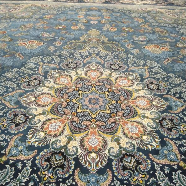 فرش ماشینی الماس کویر طرح استانبول زمینه آبی