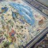 فرش 1000 شانه الماس کویر طرح شکارگاه سرمه ای