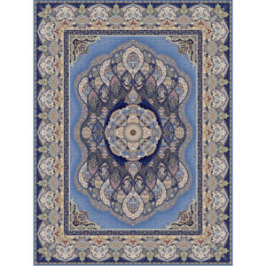 فرش شاهکار صفویه طرح باران زمینه آبی
