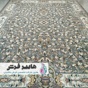 فرش الماس کویر طرح سلطنتی نقره ای کد 1430