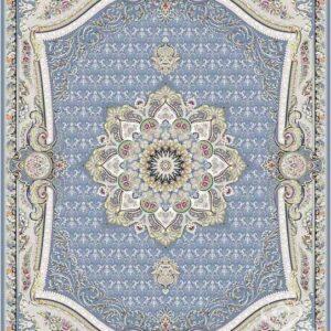 فرش قیطران طرح گلچین زمینه آبی