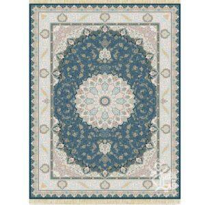 فرش ماشینی قیطران طرح آزیتا زمینه سرمه ای