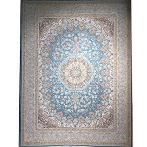 فرش ماشینی الماس کویر طرح مهرگان زمینه آبی
