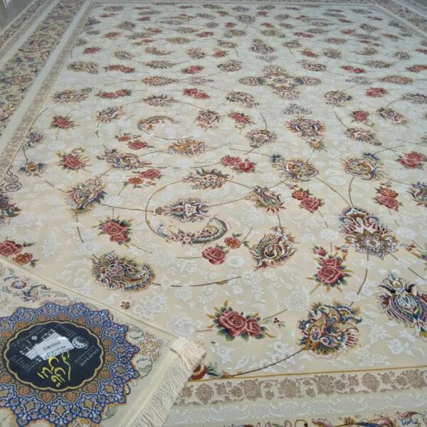 فرش ماشینی الماس کویر طرح افشان کد 1229کرم