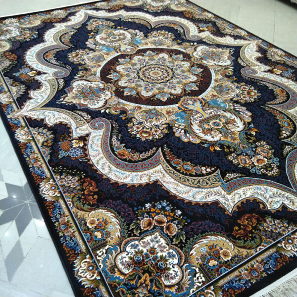 فرش ماشینی الماس کویر طرح شهیاد زمینه سرمه ای