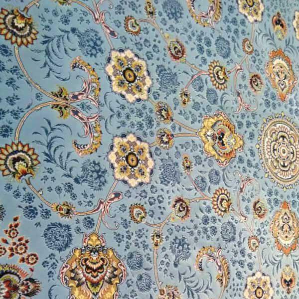 فرش شاهکار صفویه طرح افشان کد 3830 زمینه آبی