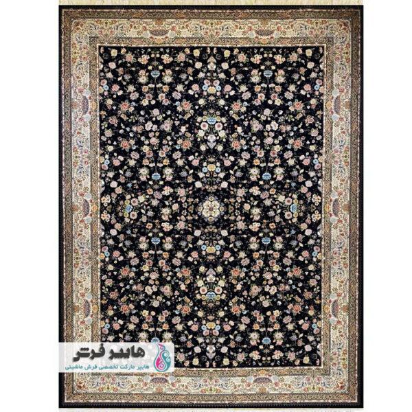 فرش شاهکار صفویه طرح افشان باغ بهشت کد 5657 سورمه ای