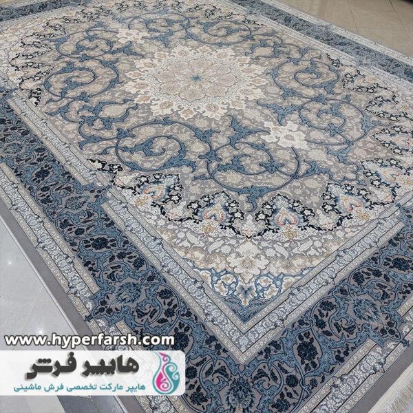 فرش الماس کویر طرح بهشت نقره ای کد 1477